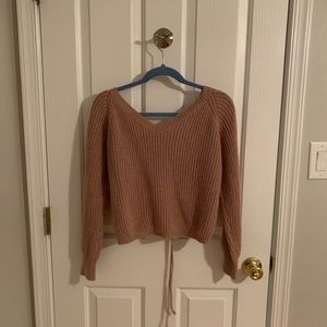 Peach knitted runched sweater top